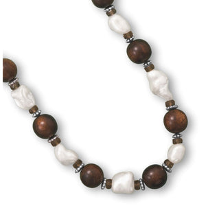 16 + 2 Wood Bead And Shell Nugget Fashion Necklace Product