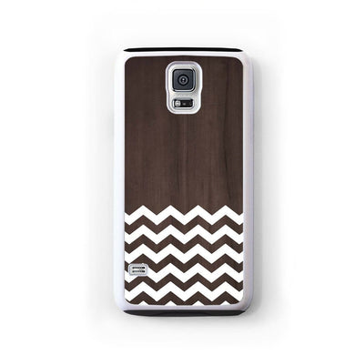 Zig Zag White On Dark Wood For Galaxy S5 Home - Electronics