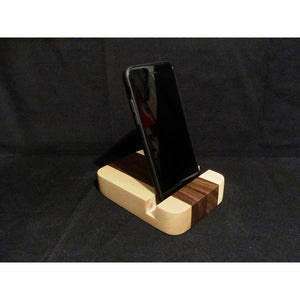Walnut And Maple Iphone Desk Stand | Iphone Dock | Ipad Dock | Tablet Stand | Charging Station Docking Stations