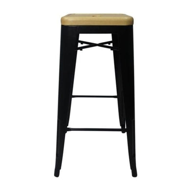 Tolix Style Bar Stool Black - Natural Wooden Seat