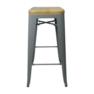 Tolix Style Bar Stool Silver - Natural Wooden Seat