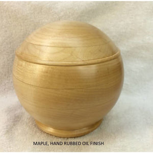 Maple Keepsake Box -5 Inch Hardwood Turned Spherical Round Normal