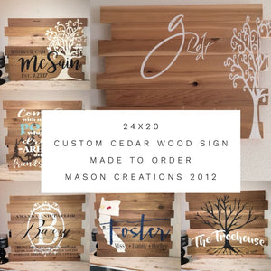 24X20 Custom Cedar Wood Sign- Designed Just For You! Last Name Family Gift Sign