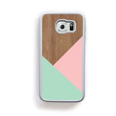 Wood Pink Turquoise Design For Galaxy S6 Home - Electronics