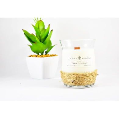 White Tea + Ginger Wooden Wick Candle Home - Candles