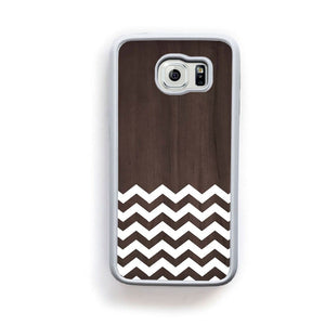 Zig Zag White On Dark Wood For Galaxy S6 Home - Electronics