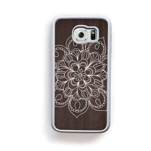 Mandala White Lines On Dark Wood For Galaxy S6 Home - Electronics
