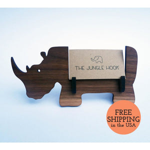 Rhino Business Card Holder For Desk - Great Handmade Office Gift Stand Accessories Rhino Business Card Holder