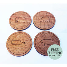Any 4 Animal Coasters - Wooden Cherry With Engraved Patterns And Cork Backings Housewarming Gift Coaster