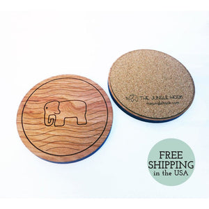 Set Of 4 Elephant Coasters - Wooden Cherry With Engraved Pattern And Cork Backing Housewarming Gift Coaster