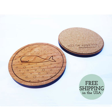 Set Of 4 Whale Coasters - Wooden Cherry With Engraved Pattern And Cork Backing Housewarming Gift Coaster
