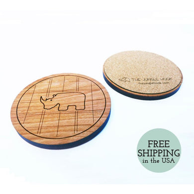 Set Of 4 Rhino Coasters - Wooden Cherry With Engraved Pattern And Cork Backing Housewarming Gift Coaster