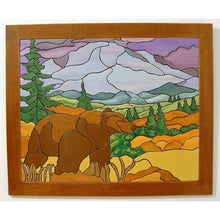 Landscape Mountains And Bear Wood Wall Art. Home Decor Art