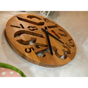 Circle Wall Clock Wood Hand Made Oak Gift For Couple Scroll Saw Eco Kitchen Birthday Gift Housewarming Product