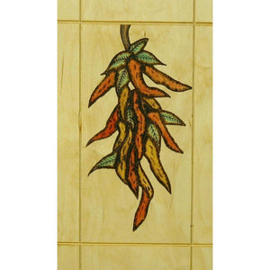 Southwest Chili Peppers Kitchen Decor Wood Wall Art. Pyrography Art