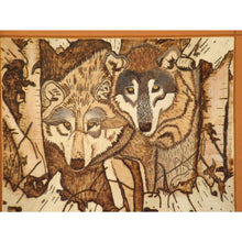Pyrography Wood Wall Art Wolves Decorative Hand Painted