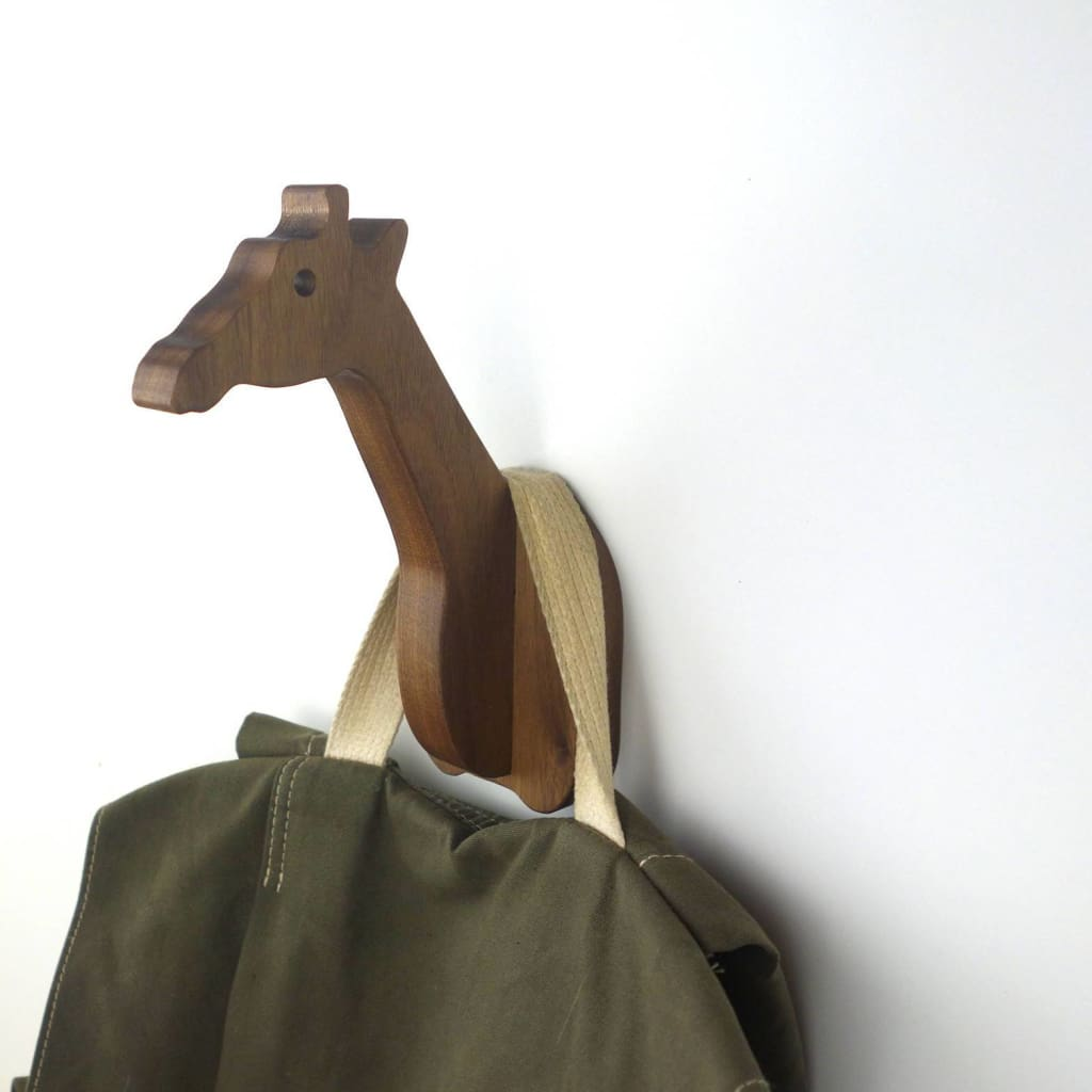 Giraffe Animal Wall Hook In Walnut: Great For A Safari Nursery Wooden Giraffe Hanger Coats Hats & Backpacks Gift Wall Hook