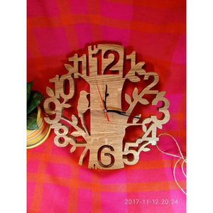 Wall Clock Wood Hand Made Gift For Him Her Scroll Saw Eco Wooden Birthday Gift New Home Housewarming Product