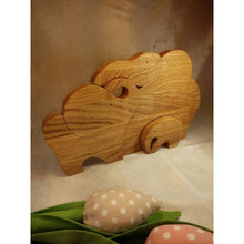 Elefants From Wood Puzzle Toys Wooden Decor Family Of Three Gift For Kids Natural Baby Shower Product