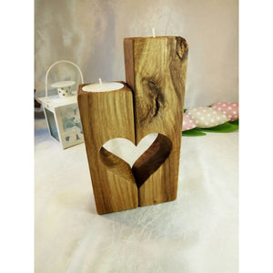 Candleholder Heart Wood Candleholder Valentines Gift For Her Him Love Candleholders Lovers Handmade Home Decor Product