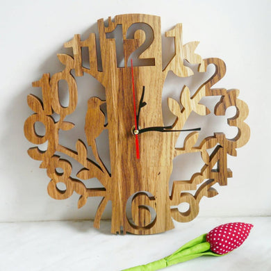 Wall Wood Clock Hand Made Gift For Him Her Scroll Saw Eco Wooden Gift Husband Birthday New Home Product