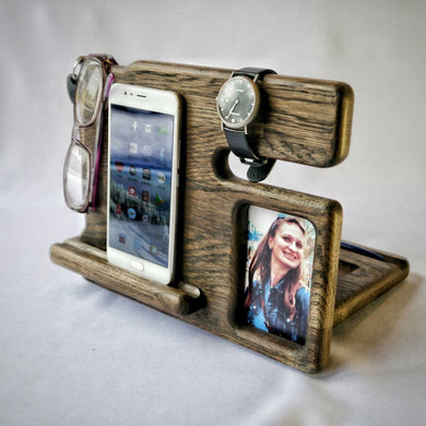 Gift For Men Valentines Day Gift Him Docking Station With Foto Iphone Wood Stand Night Husband Personized Product