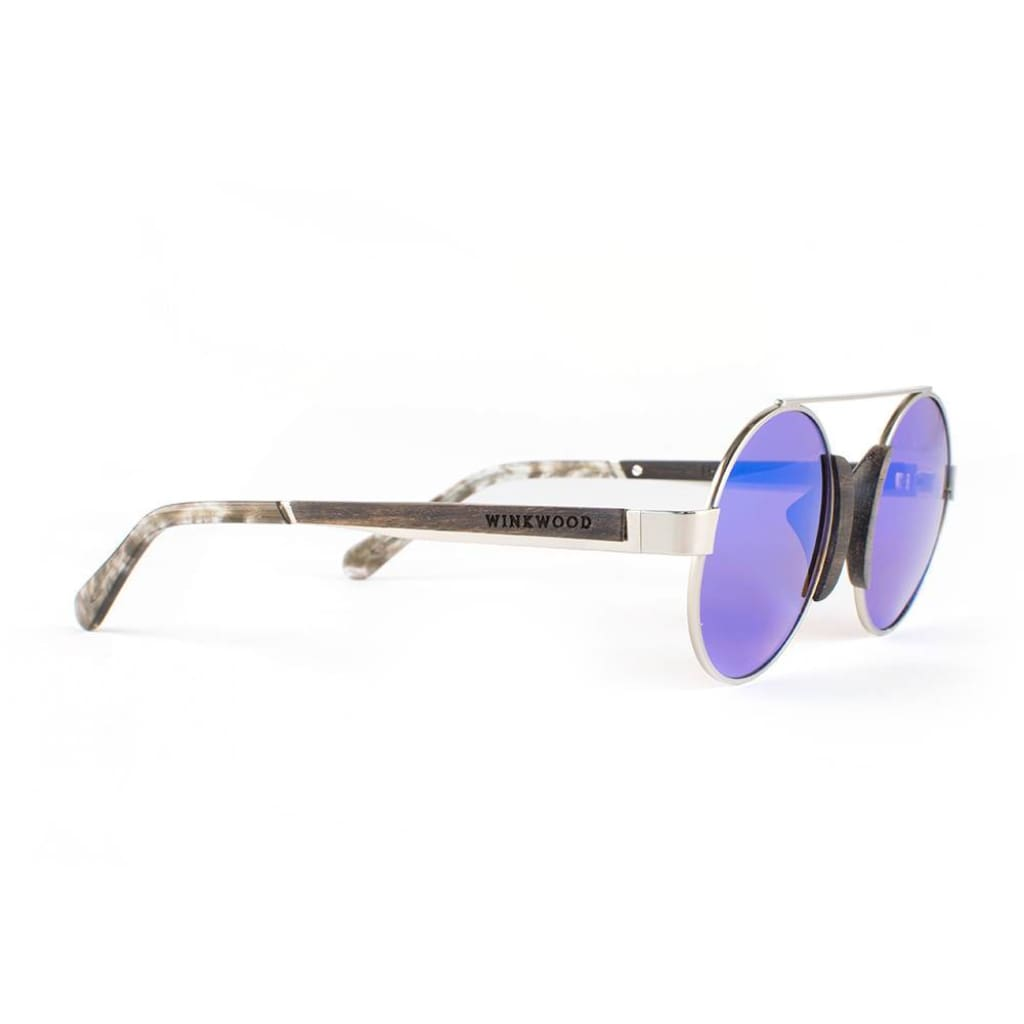a2249e9401 ... Wooden Sunglasses Wood Frame Silver Finish Handmade Darkwood Oxford -  Lime By Winkwood Product ...