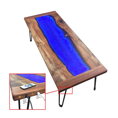Unique Walnut And Led Lit Resin River Themed Coffee Table. Includes Embedded Rechargeable Battery Bank For Charging Your Phone! Normal