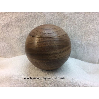 Walnut Keepsake Box 4 Inch Spherical Hardwood Turned Round Normal