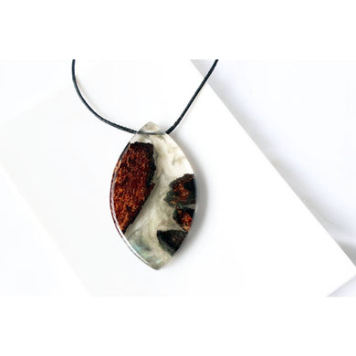 Large Wood Resin Necklace Statement Botanical Secret Pendant Forest Woodland Product