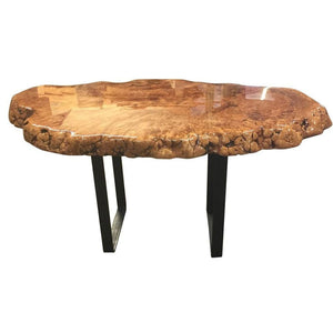 Live Edge Maple Burl Slab Table With Epoxy Resin Bar-Top Finish Normal