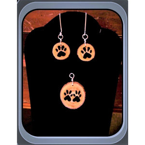 Cat Lovers Gift- Wife Grandmother Gift Wood Jewelry - Necklace Style C Set -