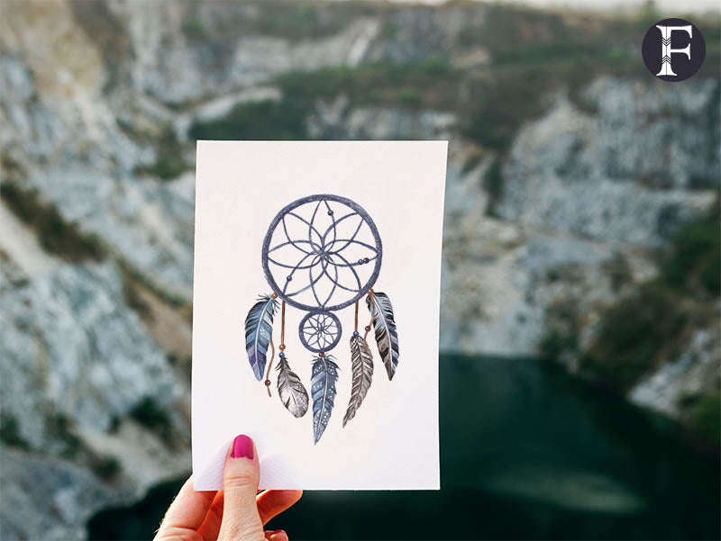 Tribal dreamcatcher temporary tattoo in navy for bohemian, wild look Singapore.