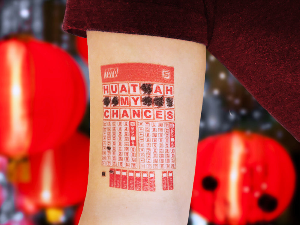 Uniquely Singapore temporary tattoo with comic design lottery toto ticket with words Huat Ah My Chances