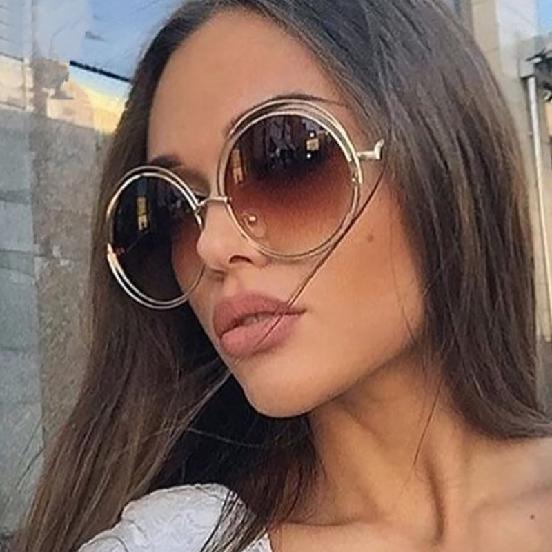 Calanovella Vintage Oversized Round Sunglasses Circle Alloy Around Hollow Frame Designer Sun Glasses UV400