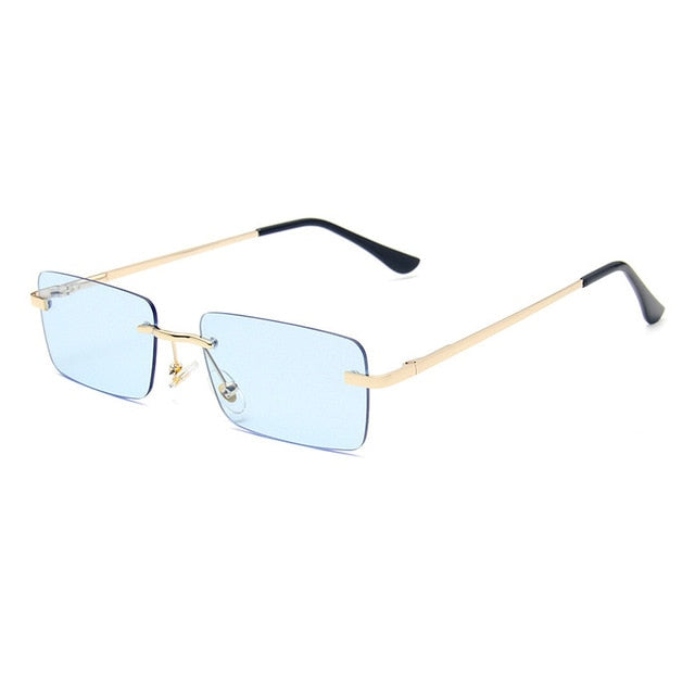 Calanovella Stylish Rectangle Rimless Sunglasses for Women Fashionable Square Vintage Retro Small Yellow Gradient Tinted Cool Glasses