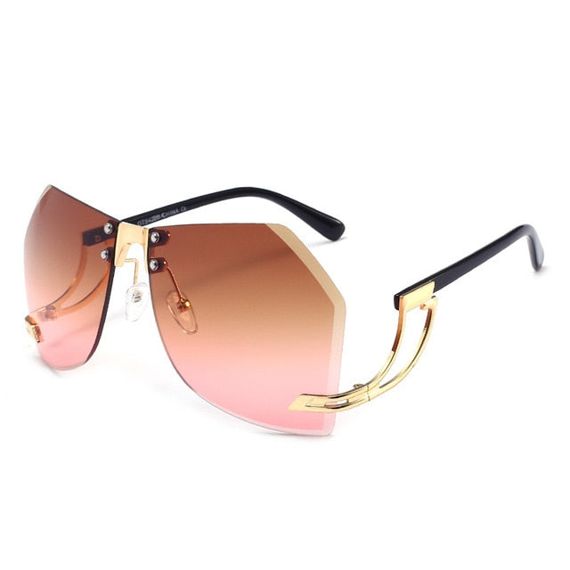 Calanovella Men Women Sunglasses Big Two Toned Rimless Gradient Metal Frame Men Womens Fashion Shades UV400 gray,pink,brown,brown pink,pink yellow,clear 34.99 USD