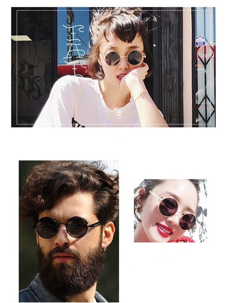 Calanovella Steampunk Round Sunglasses Stylish Classic Oval Round Steampunk Sunglasses Cool Circular Oval Round Gold Frame Vintage Gothic Eighties Retro 2020 Polarized UV400 for Men Women black,gold black,copper brown,silver mirror,gray green,silver blue,gold pink,gold clear 39.99 USD