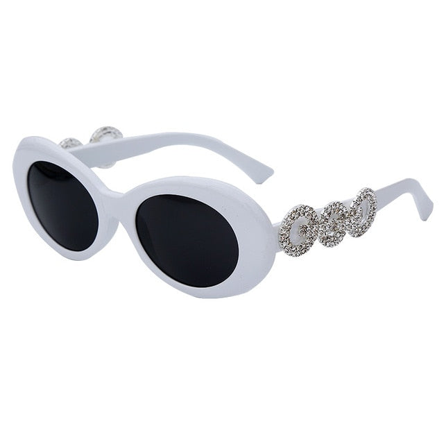 Calanovella Stylish Crystal Diamond Rhinestones Round Oval Sunglasses UV400