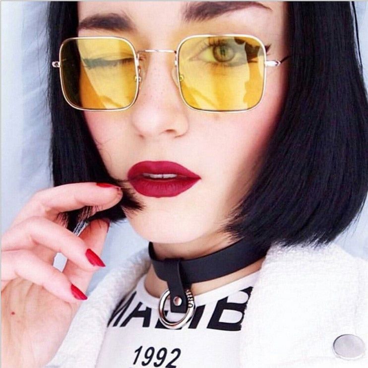 Calanovella Stylish Square Sunglasses for Men Women Classic Eighties Retro Frame Candy Color Vintage Sun Glasses yellow,blue,red,pink,purple,green,gold clear,silver clear,black clear,dark green,black,gold black 34.99 USD