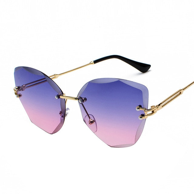 Calanovella Cat Eye Diamond Glasses Trendy Cat Eye Diamond Two Toned Rimless Sunglasses for Men Women Cool Clear Lens Tinted Gradient Metal Frame UV400 blue pink,black,pink,yellow,brown,purple pink 34.99 USD