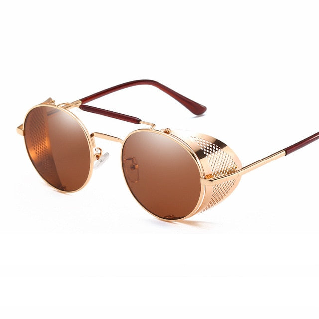 Calanovella Steampunk Round Sunglasses Gold Oval Round Eighties Retro Steampunk Sunglasses for Men Women Polarized with Metal Side Shields Oval Round Lens Wrap Around Sunglasses UV400 black,gold black,silver black,gold brown,brown,red,blue,silver 39.99 USD