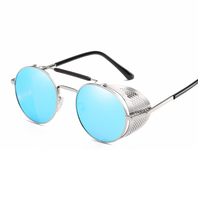 Calanovella Gold Round Retro Steampunk Sunglasses for Men Women Polarized with Metal Side Shields  Round Lens Luxury Wrap Around Sunglasses UV400