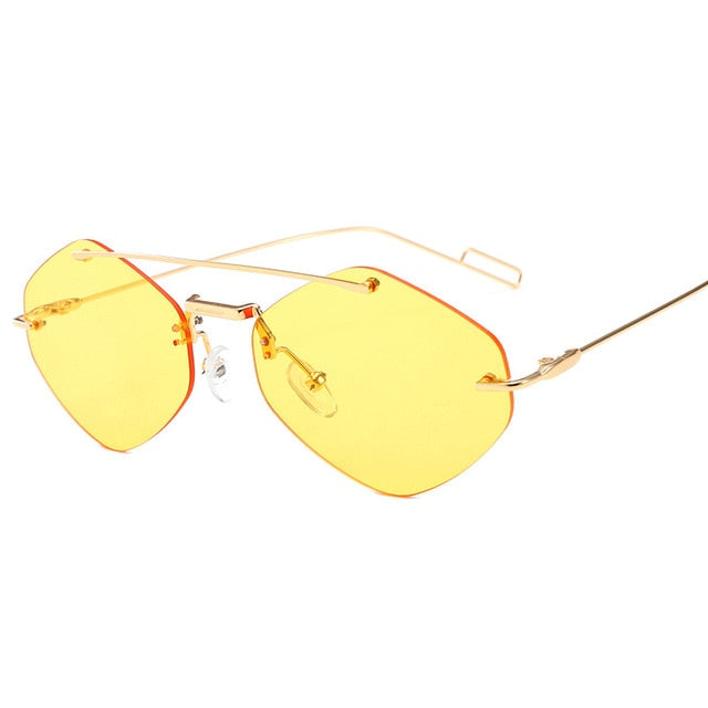 Calanovella Men Women Sunglasses Cool Two Toned Rimless Vintage Square Sunglasses for Men Women Trendy Red Black Double Beam Tint Shades UV400 black,red,yellow,pink,silver,gold clear 34.99 USD