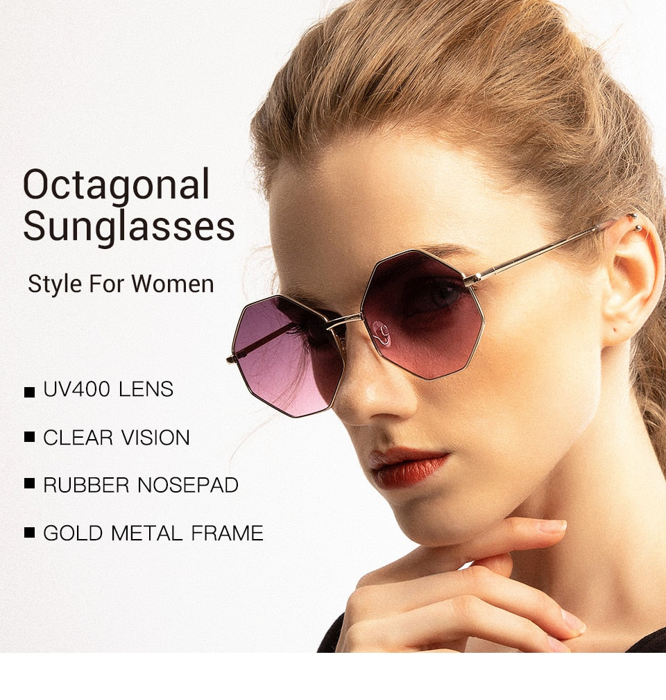 Calanovella Men Women Sunglasses Fashionable Sunglasses for Men Women Cool Stylish Polygon Metal Frame New Purple Clear Lens UV400 pink,cool rainbow,purple 34.99 USD
