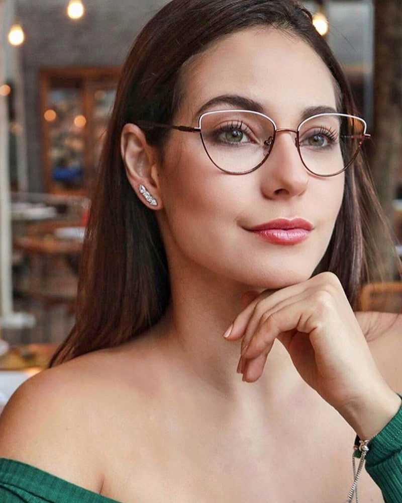Calanovella Vintage Cat Eye Retro Simple Glasses Frames Men Women Office Business Fashion Eyeglasses Clear Lenses Transparent