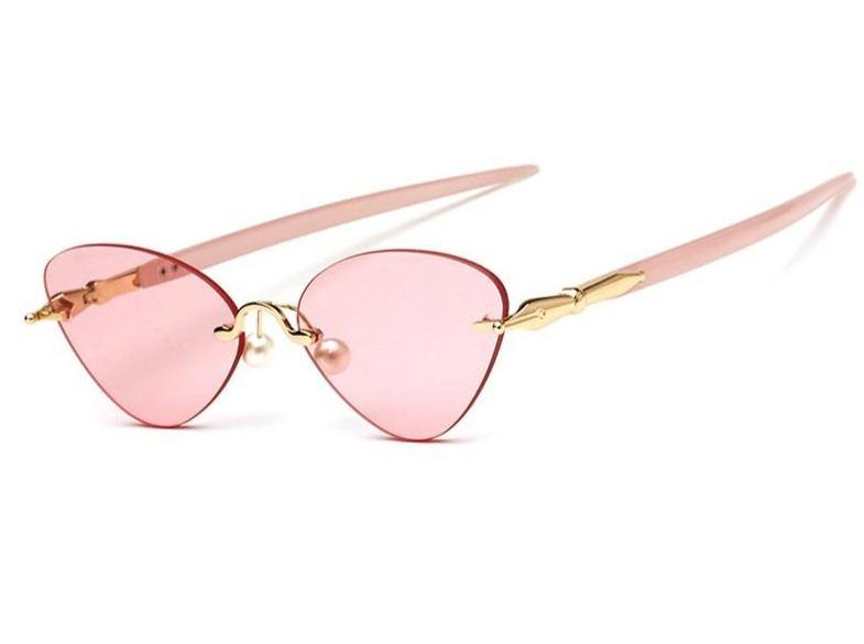 Calanovella Candy Pink Rimless Cat Eye Sunglasses for Women 2020 Brand Designer Unique Pen Shape Tinted Lens Cateye Sun Glasses
