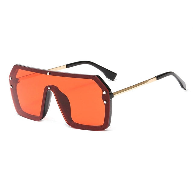 Calanovella Trendy Oversized Square Sunglasses for Men Women Vintage Mirror Eighties Retro Windproof Stylish One Piece Sun Glasses black,yellow,red,blue,silver,leopard,pink 34.99 USD