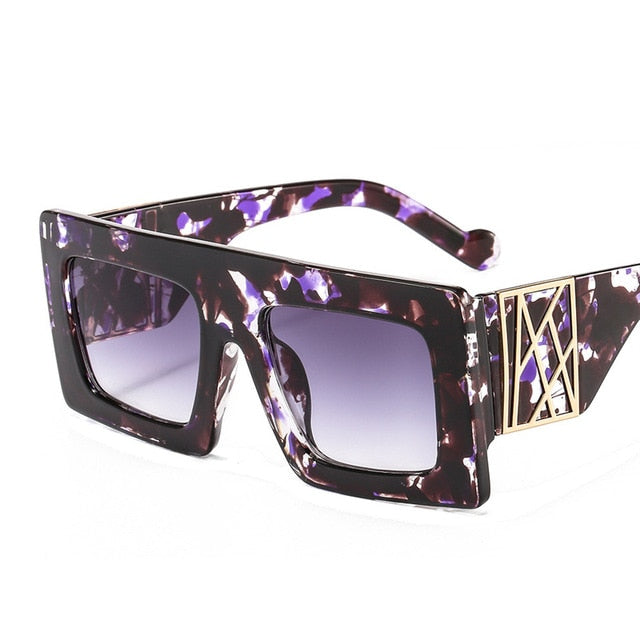 Calanovella Stylish Vintage Oversized Square Sunglasses for Men Women 2020 New Thick Leopard Frames Eighties Retro Glasses UV400 black a,black b,leopard,pink,flower,flame,cheetah 34.99 USD