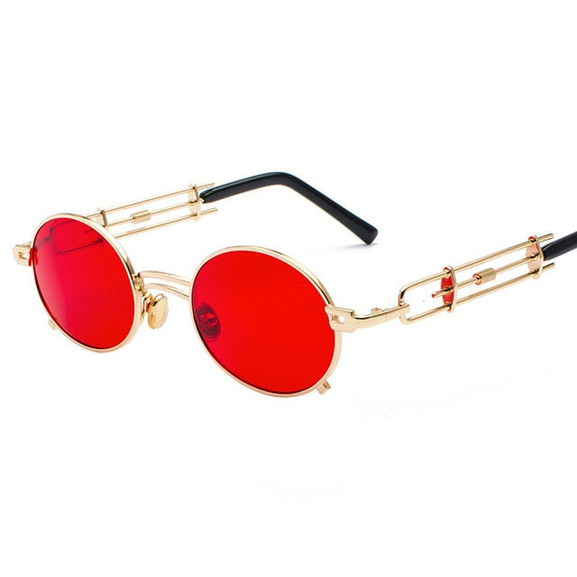 Calanovella Steampunk Round Sunglasses Vintage Steampunk Sunglasses Women Eighties Retro Metal Oval Round Sunglasses Men Black Red Clear Lens UV400 silver black,blue,black red,gold red,black,pink,gray black,brown,gold black,gold clear,black clear 34.99 USD